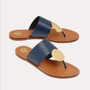 Tory Burch leather Patos disk sandal navy